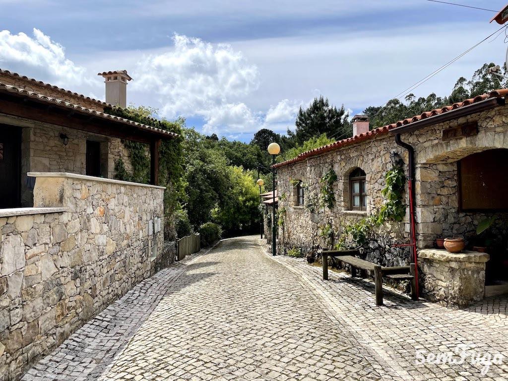 casas e rua de pedra na aldeia da pia do urso